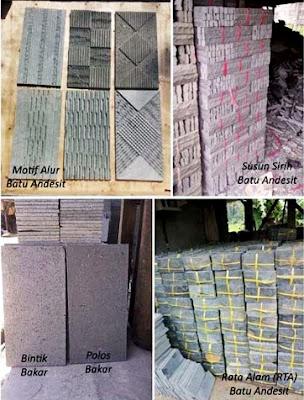 Contoh Gambar Batu Alam Andesit Motif Alur, Susun Sirih, Bintik Bakar, Polos Bakar & Rata Alam (RTA) untuk Templek Dinding Rumah Minimalis