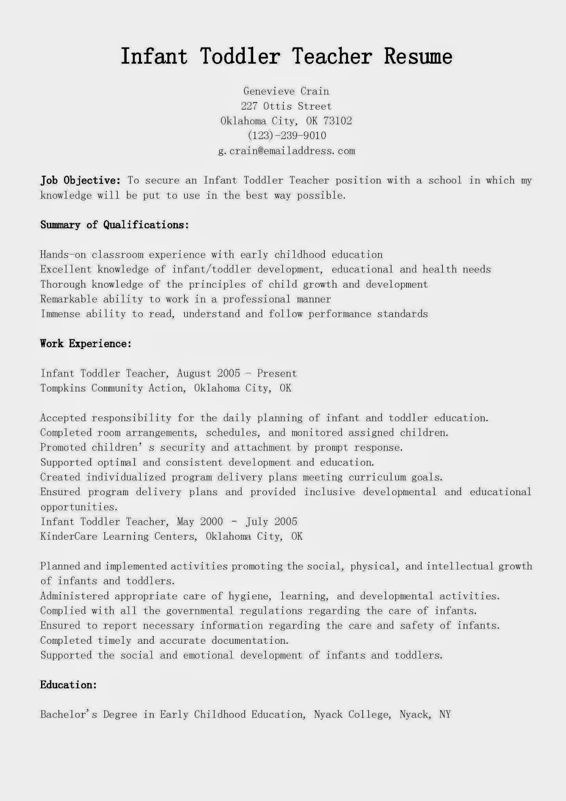Lead Teacher Job Description Resume Resume Samples Infant Toddler Teacher Resume Sample