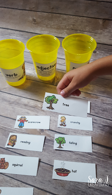 Free fall parts of speech sort to practice nouns, verbs and adjectives with a fun fall/autumn theme!