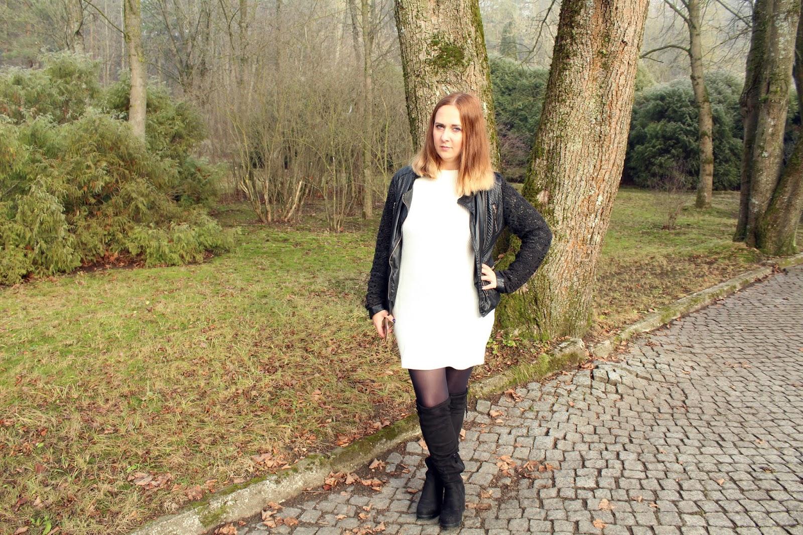 Sweterkowa sukienka z koronką i męskie spodnie jogger ze sklepu ROSEGAL + zniżka na zakupy