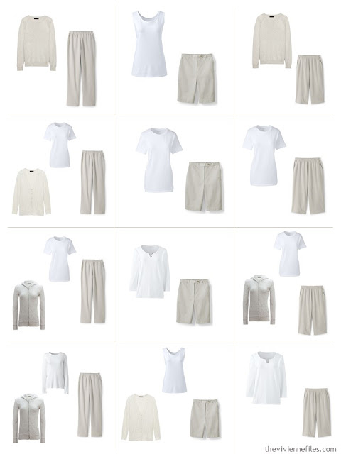 12 outfits from a 10-piece stone and white Common Wardrobe
