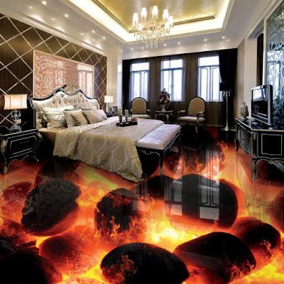 exclusive lava and flame themed 3d floor tiles designs for bedroom area, bedroom interior with 3d design