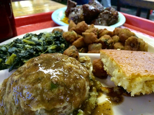 Cornbread Dressing with Gravy, Fried Okra, and Greens