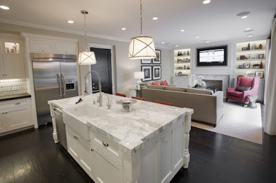 traditional open plan kitchen with living room design