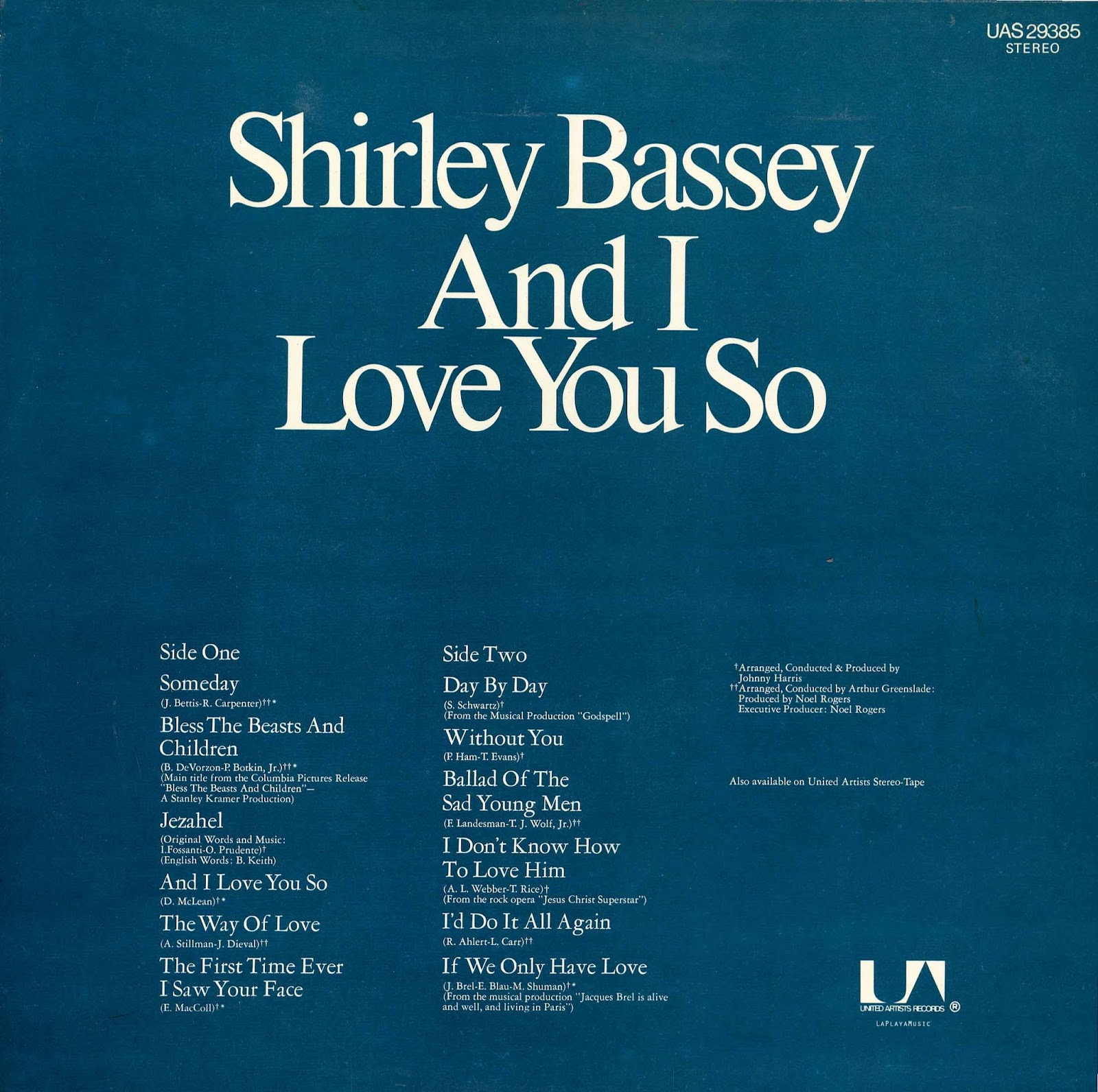 la playa music oldies shirley bassey and i love you so 1973