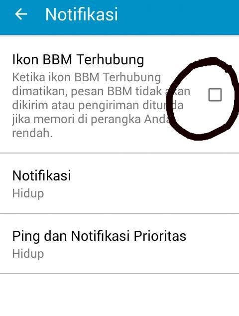 Cara Menyembunyikan ikon BBM Saat Terkoneksi