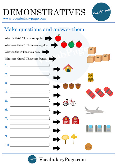 Demonstratives worksheet