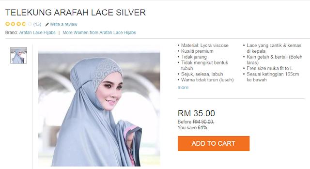 Review telekung Arafah selesa dan cantik, RM35.00 sepasang hanya di LAZADA