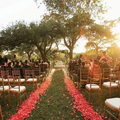 The Autumn Wedding Ombre Petal Wedding Aisle