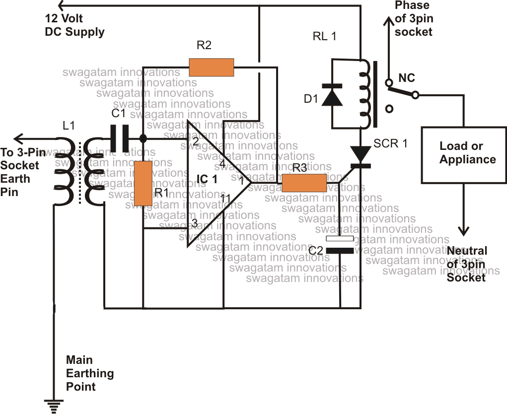 Earth Leakage Circuit Breaker Connection Diagram, Earth