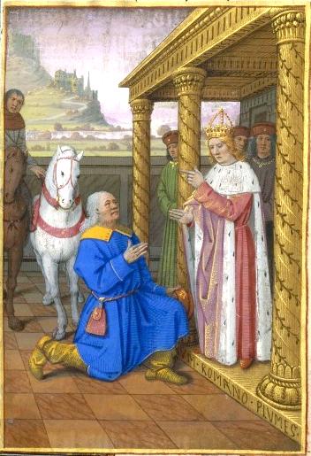 Augusto nomeia Quirino governador de Síria. Jean Bourdichon (1457 - 1521), Paris, BnF, manuscrit NAF. 21013, folio 65o.