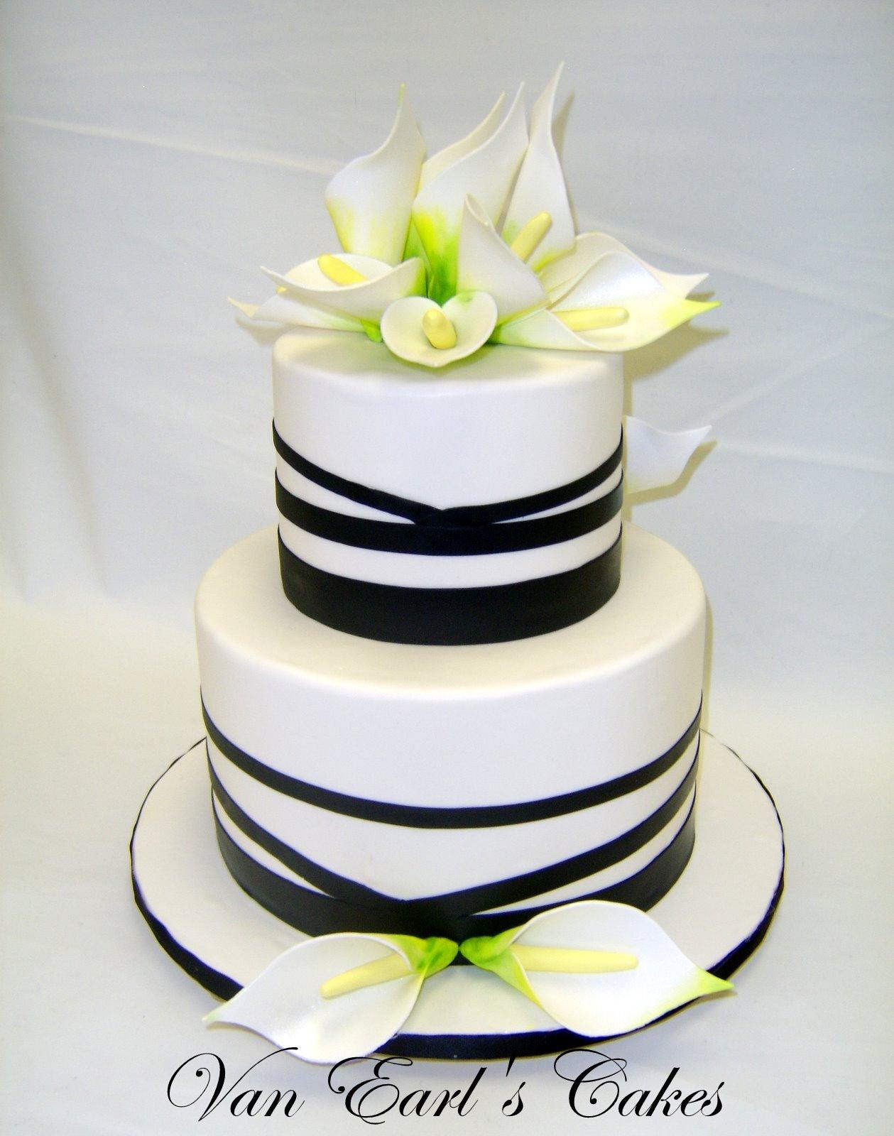 Black And White Calla Lily Cake