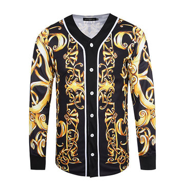 Mens Spring Thin Coat 3D Printing Vintage V-neck Button Sportswear Casual Baseball Shirt