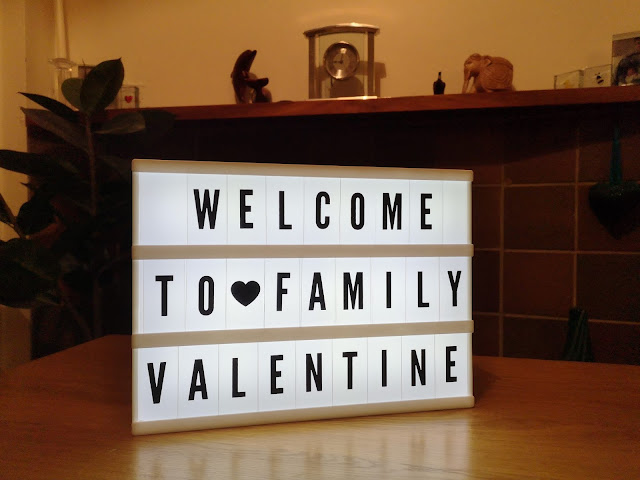 light box saying welcome to family valentine