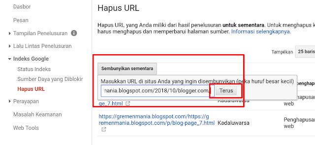 Sobat kemudian klik Sembunyikan sementara dan pastekan url eror yang telah Sobat salin tadi. Jika sudah klik Terus.