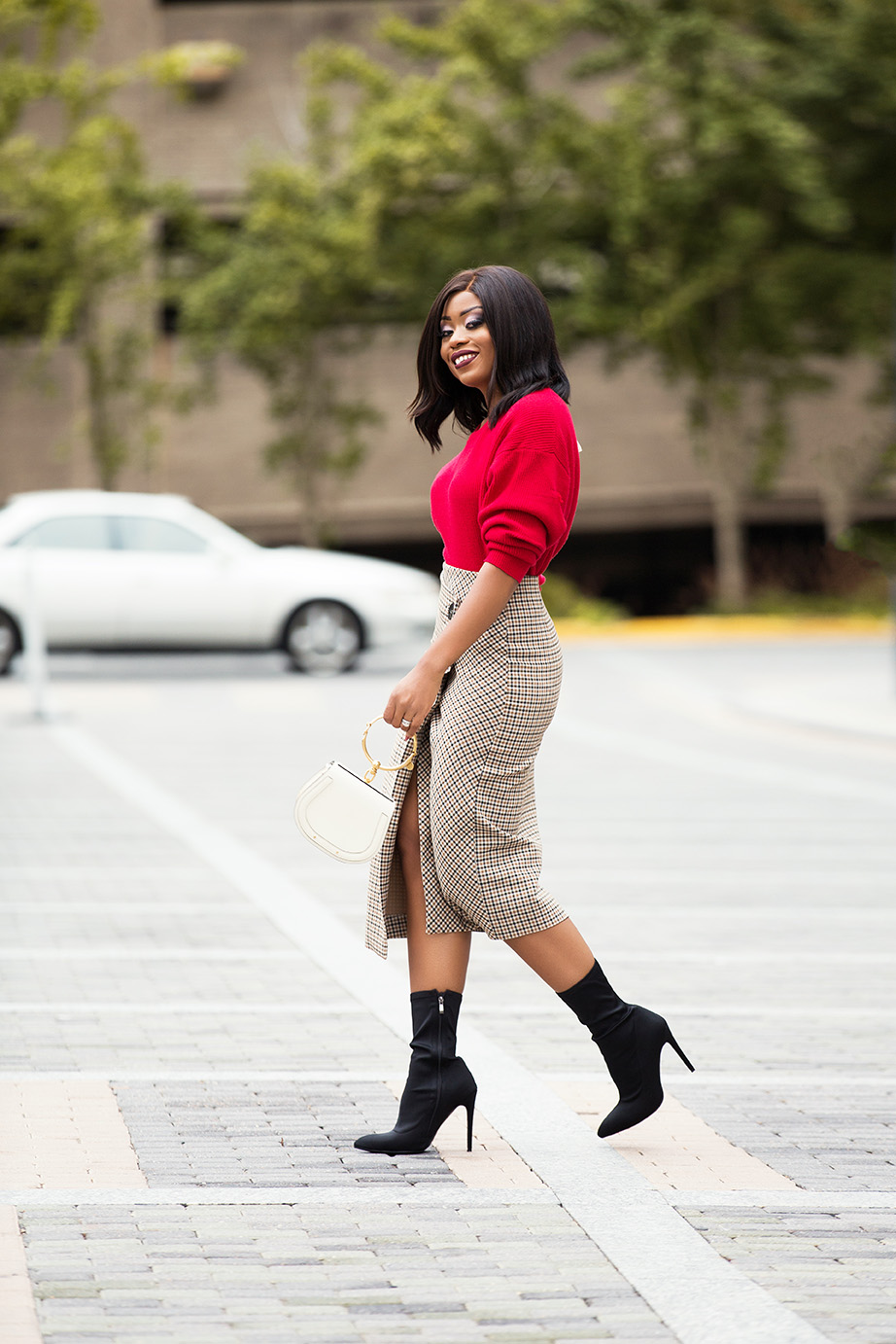 check wrap skirt, red sweater, ankle boots, www.jadore-fashion.com