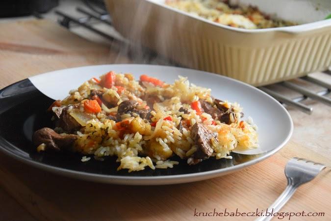 Zapiekanka z wątróbką i ryżem