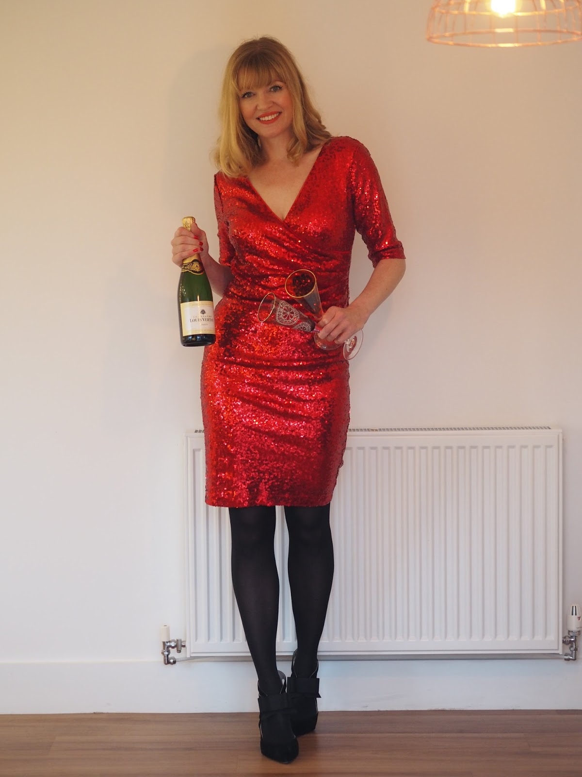 Red sequin Christmas party dress, over 40