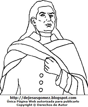Dibujo de Túpac Amaru II para colorear o pintar. Dibujo de José Gabriel Condorcanqui hecho por Jesus Gómez