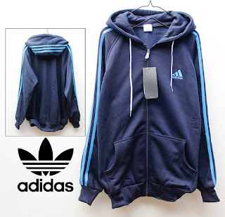 Jaket Adidas Fleece Full Biru Dongker List Biru 021 Originals