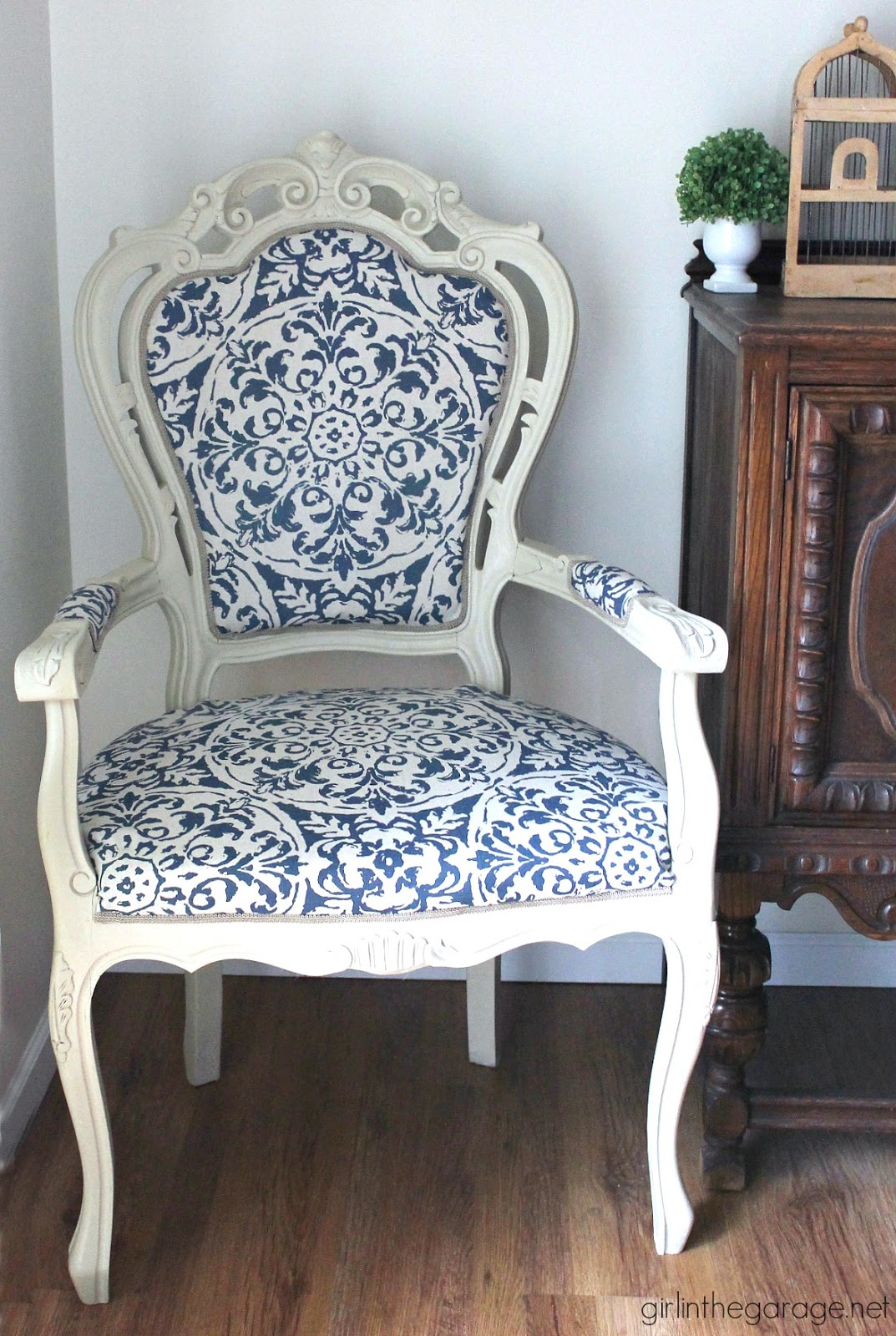 reupholstered chair, painted chair, chair makeover, refinished chair, furniture refinishing advice, how to refinish a chair