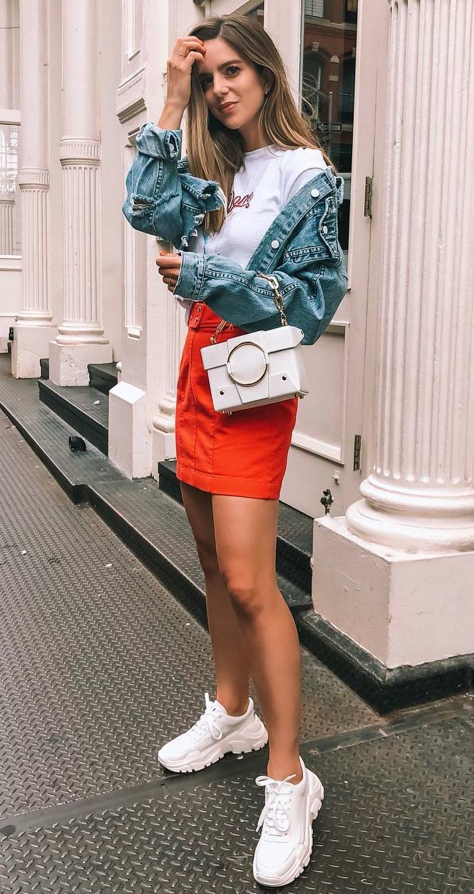 trendy outfit with a red skirt : white sneakers + bag + white top + denim jacket