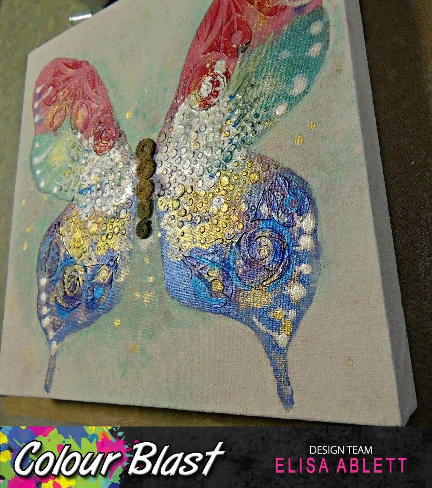 colour blast butterfly canvas by elisa ablett