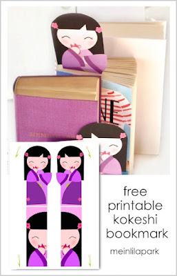 Free printable kokeshi bookmark for book lovers - Lesezeichen