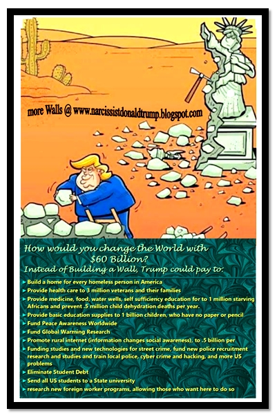 2 trump statue of liberty mexico wall border funny meme: what could you do with $60 Billion to change the world?