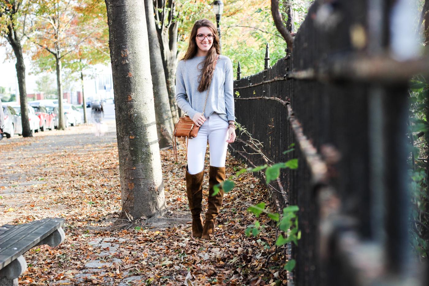 Fall Fashion | Distressed White Denim + OTK Boots