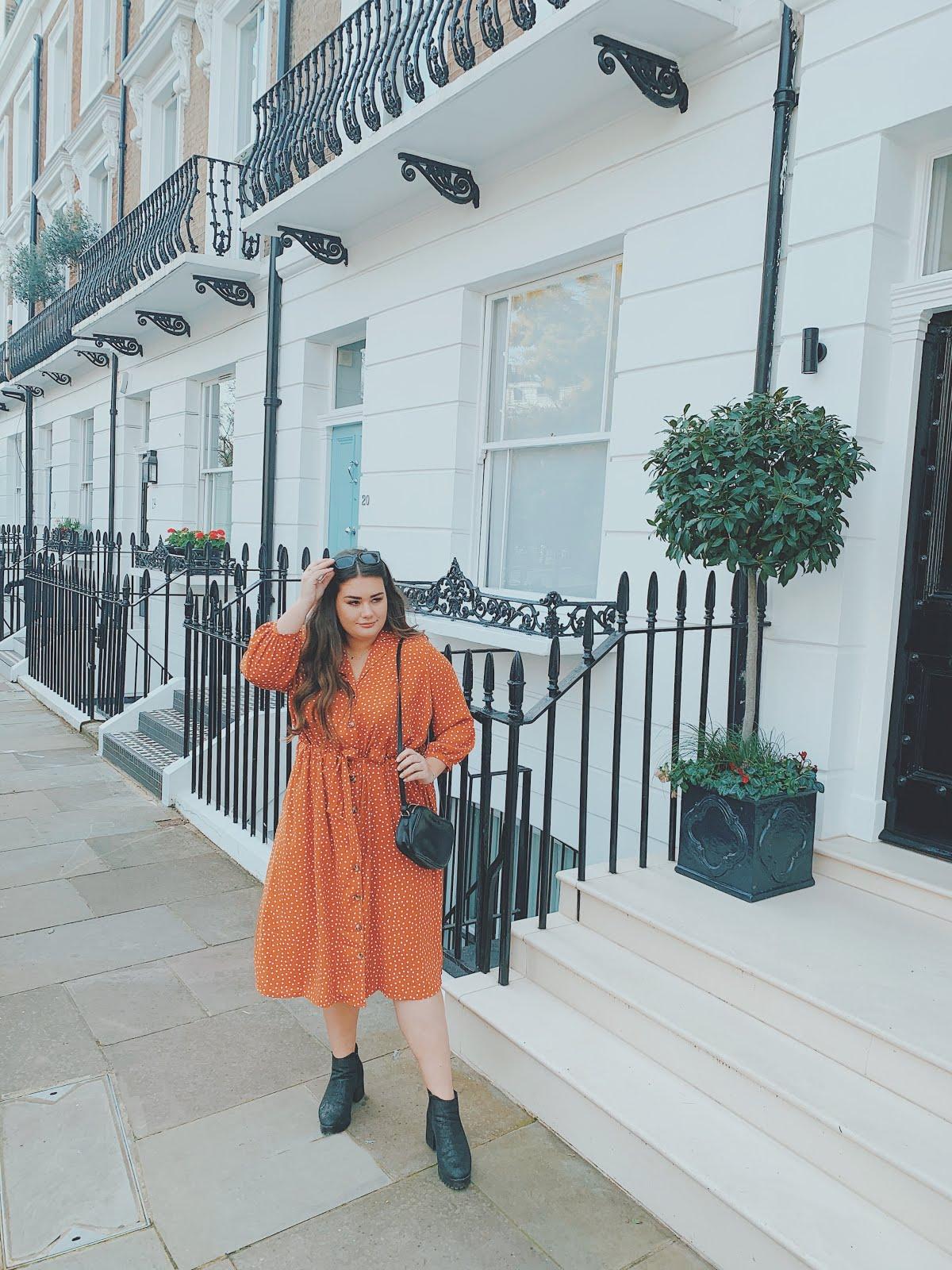 ASOS Curve tie waist orange dress