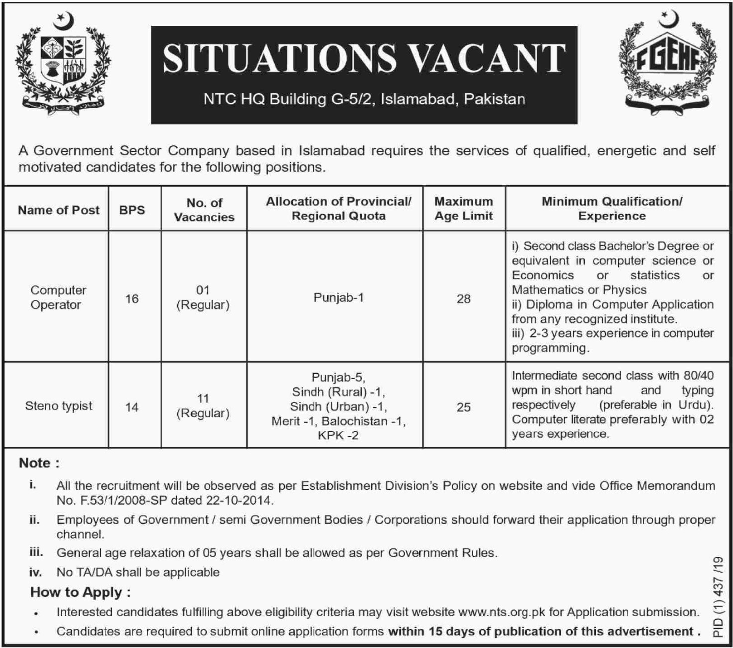 Federal Govt Employees Housing Foundation Jobs 2019 Ads No 2