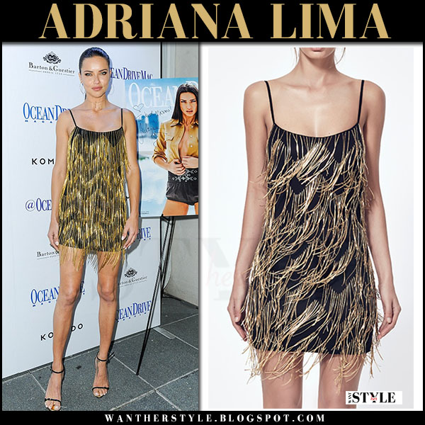 Adriana Lima in gold fringed mini dress what she wore march 2017
