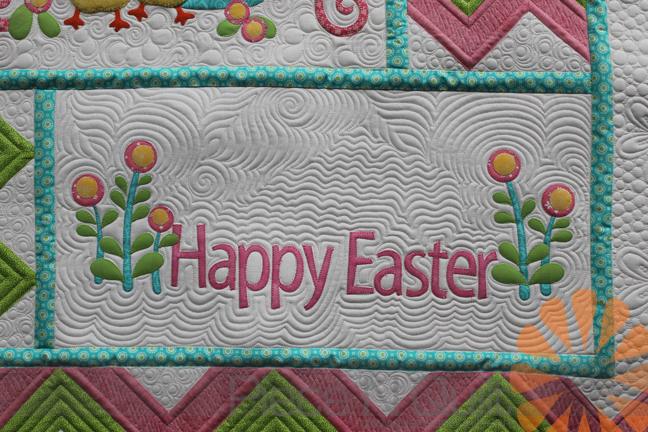 Piece n quilt easter quilt custom machine quilting by natalia bonner the echoing around the happy easter was so much fun to quilt if you have ever tried echo quilting its not the easiest motif to quilt and have it look negle Images