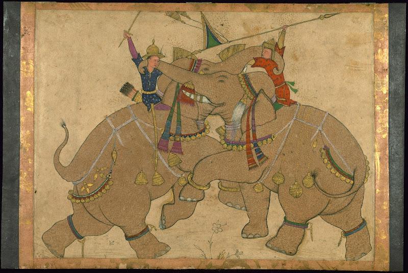 Elephant Combat - Mughal Painting, 19th Century
