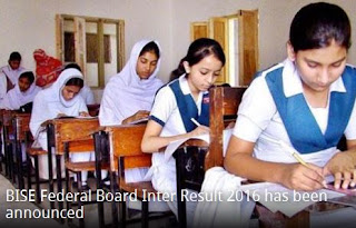 Federal Board Islamabad FBISE Inter Result 2016 Gazette Download
