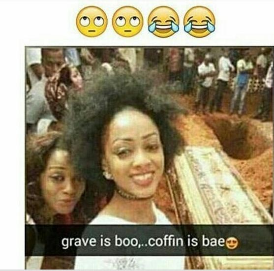 """Young woman takes """"adorable"""" burial selfie"""