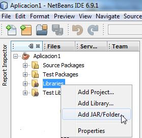 clic en add jar/folder