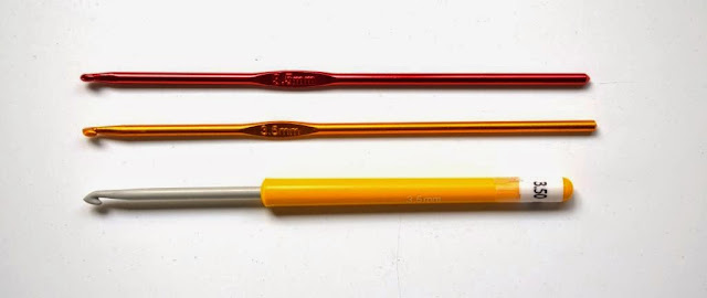 Three crochet hooks all 3.5 mm width