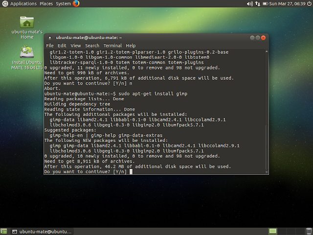 Installing gimp image editor in Ubuntu MATE