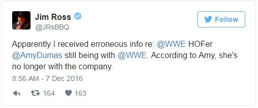 @JRsBBQ Tweet on Lita leaving WWE