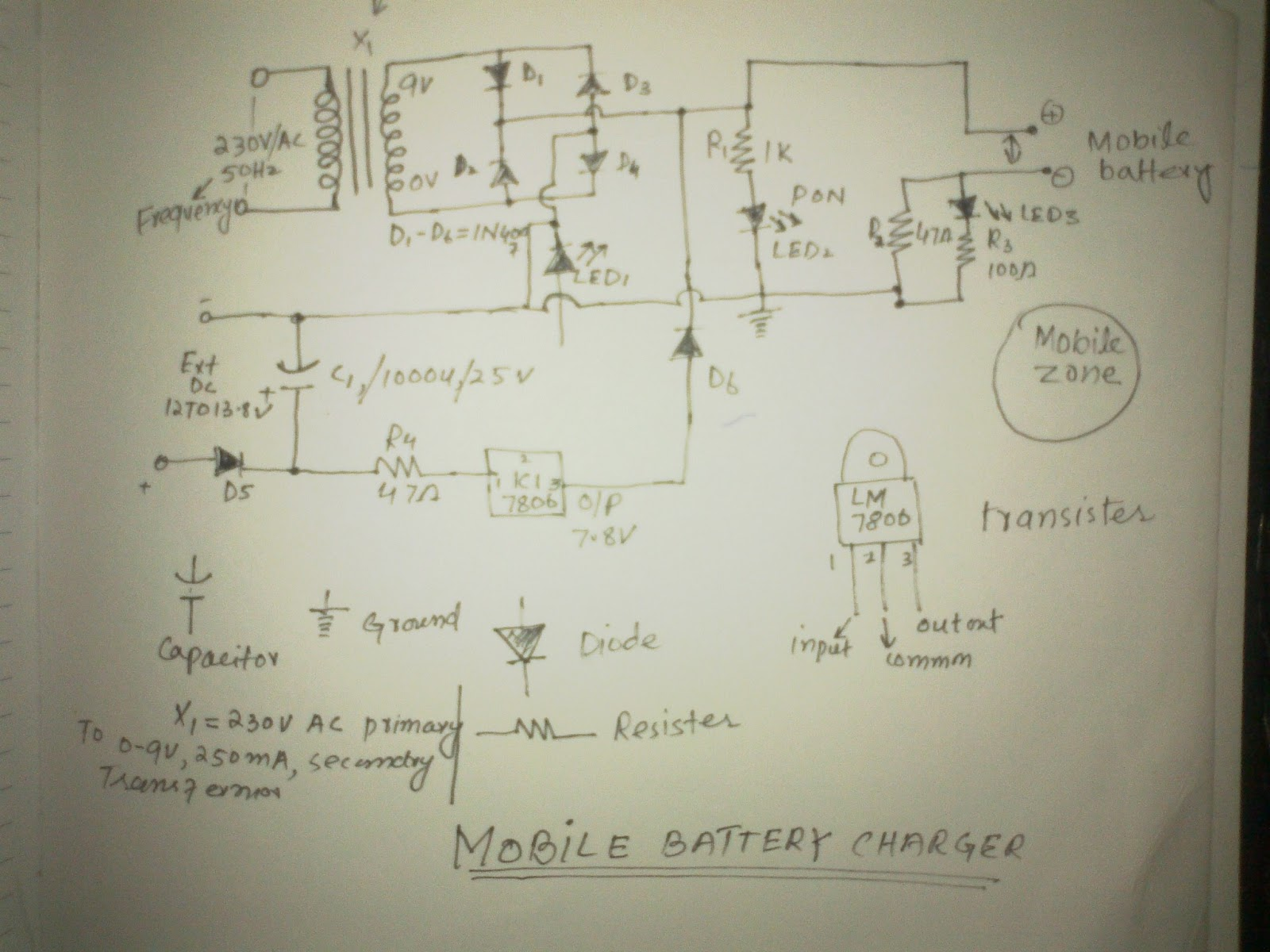 Circuit diagram of Mobile phone charger