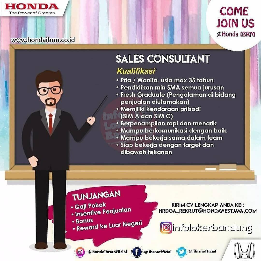 Lowongan Kerja Sales Consultant Honda IBRM Bandung Mei 2019
