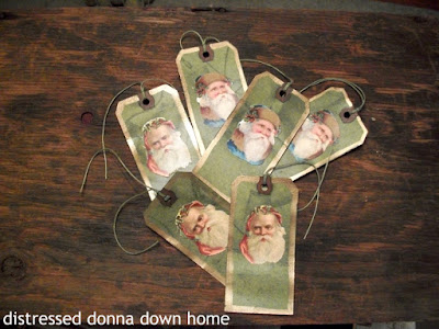 dying shipping tags, making Christmas tags, Santa