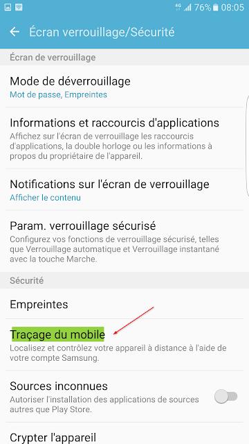 Traçage mobile Samsung
