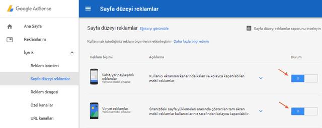 Adsense Sayfa Düzeyi Reklam Birimi