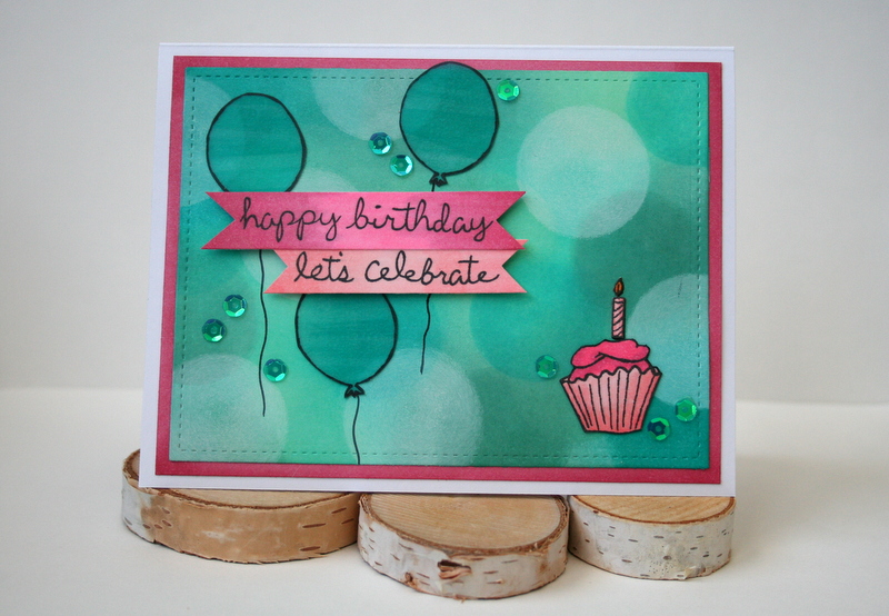 Bokeh Background Technique Birthday Card by Jess Moyer with Gerda Steiner Designs Stamps JessCrafts.com