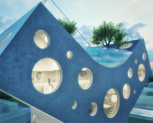 Tinuku.com MVRDV designed the Y-shaped villa in Taiwan with circular window facade and crown angle as rooftop pool