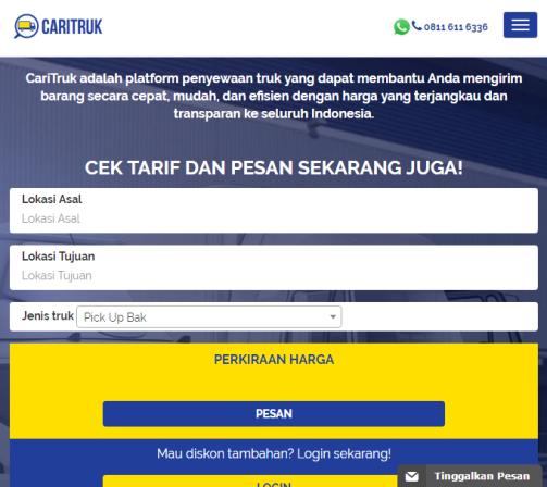 Screenshot Situs Web CariTruk