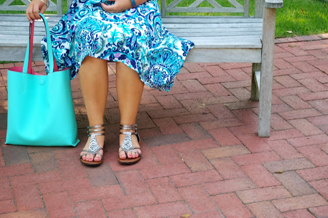 paisley dress Charming Charlie silver sandals simple jewelry blue tote bag outfit inspiration Grace + Lace link up style fashion